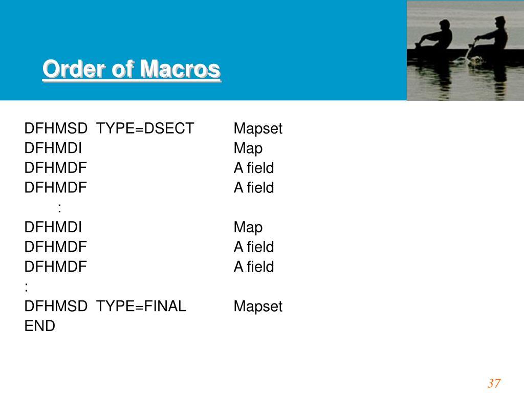 Order of Macros