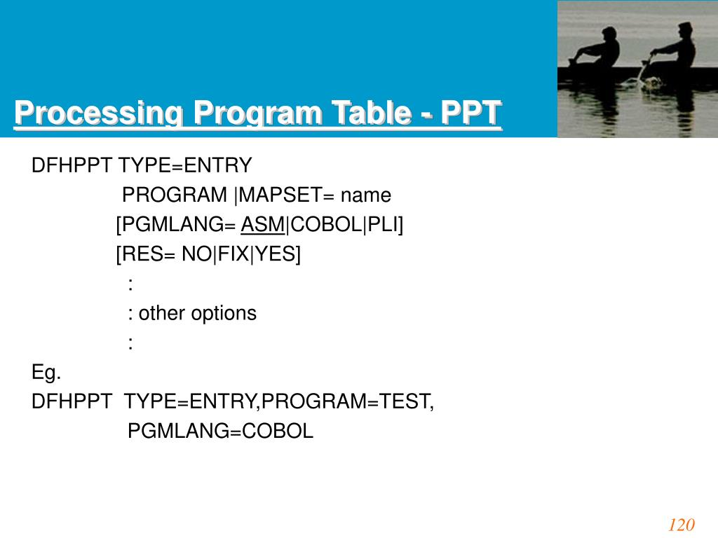 Processing Program Table - PPT