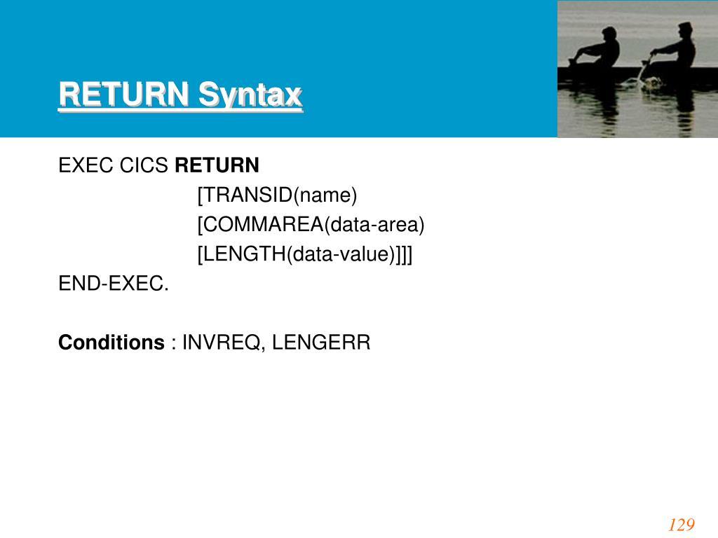 RETURN Syntax