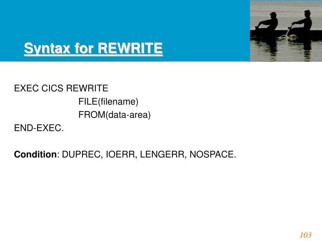 Syntax for REWRITE