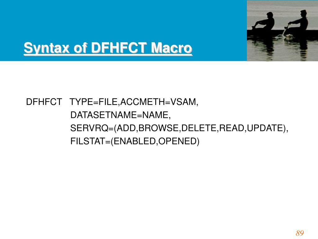 Syntax of DFHFCT Macro