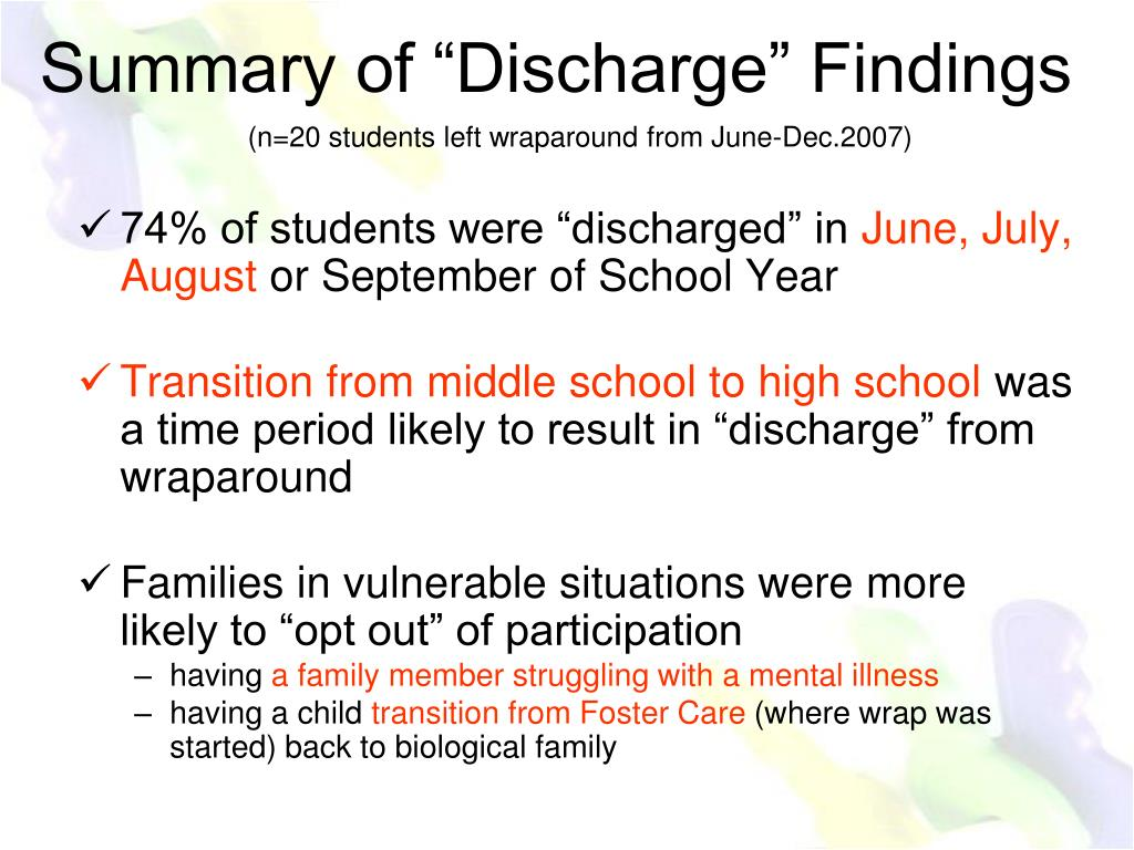 """74% of students were """"discharged"""" in"""