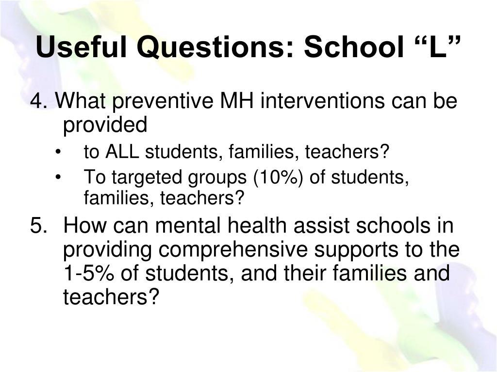 """Useful Questions: School """"L"""""""