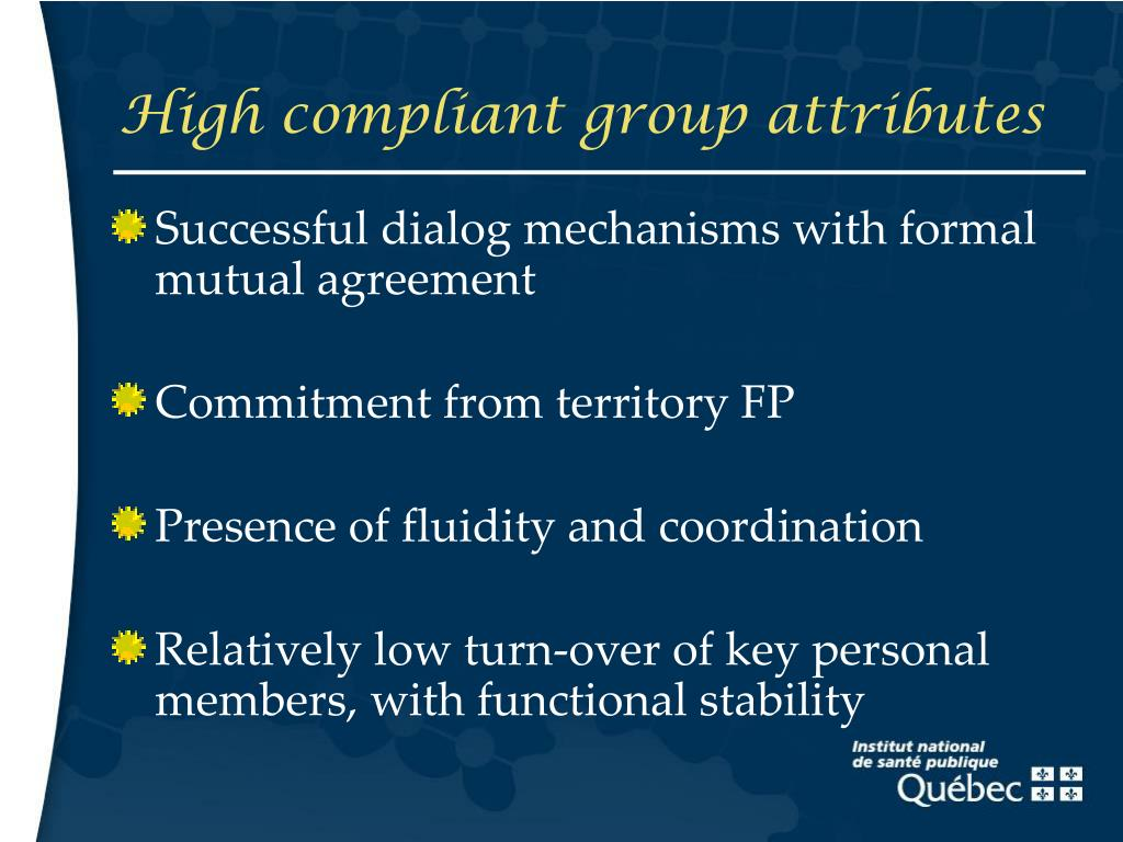 High compliant group attributes
