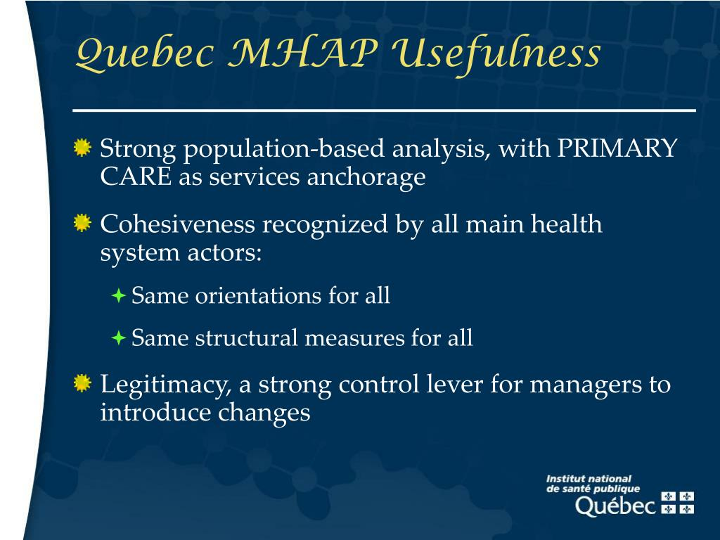 Quebec MHAP Usefulness