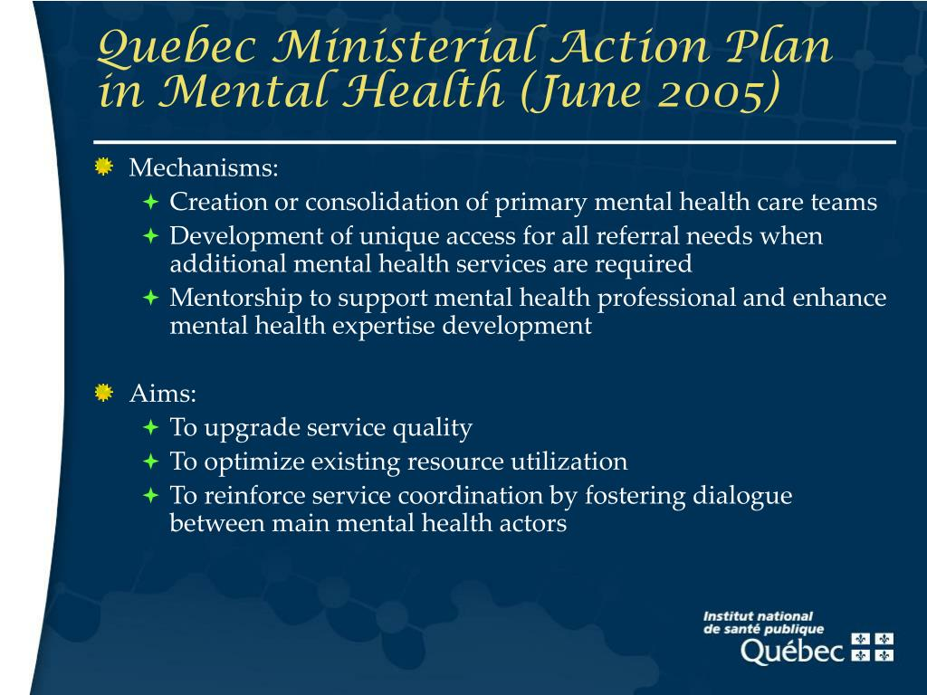 Quebec Ministerial Action Plan in Mental Health (June 2005)