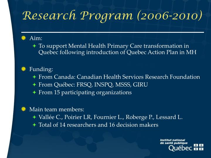 Research program 2006 2010