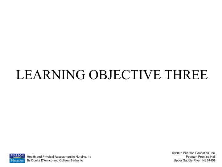 LEARNING OBJECTIVE THREE