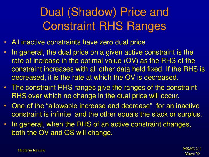 Dual (Shadow) Price and Constraint RHS Ranges