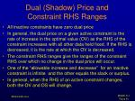dual shadow price and constraint rhs ranges