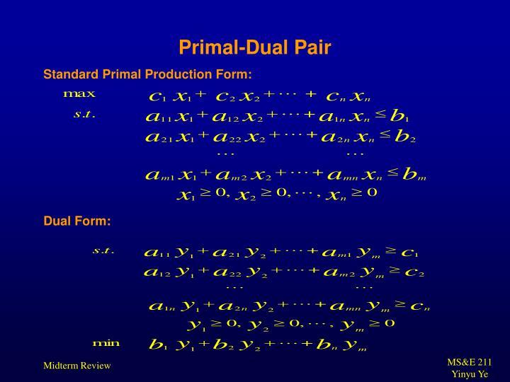 Primal-Dual Pair