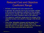 reduced cost and objective coefficient range