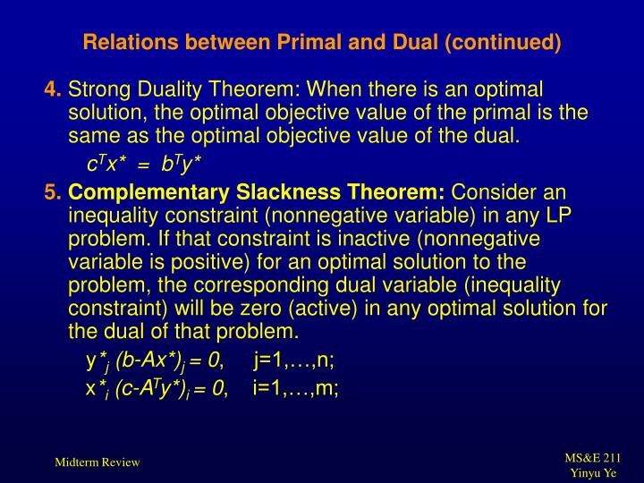 Relations between Primal and Dual (continued)