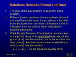 relations between primal and dual