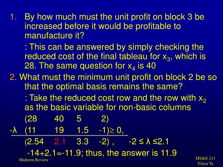 By how much must the unit profit on block 3 be increased before it would be profitable to manufacture it?
