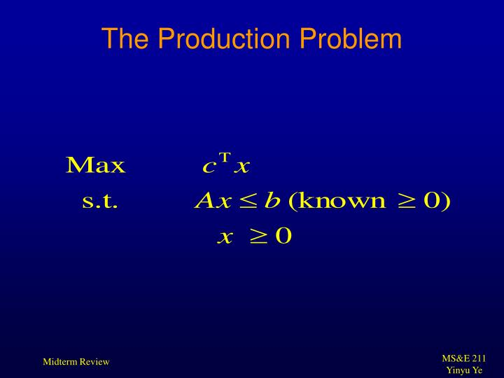 The Production Problem