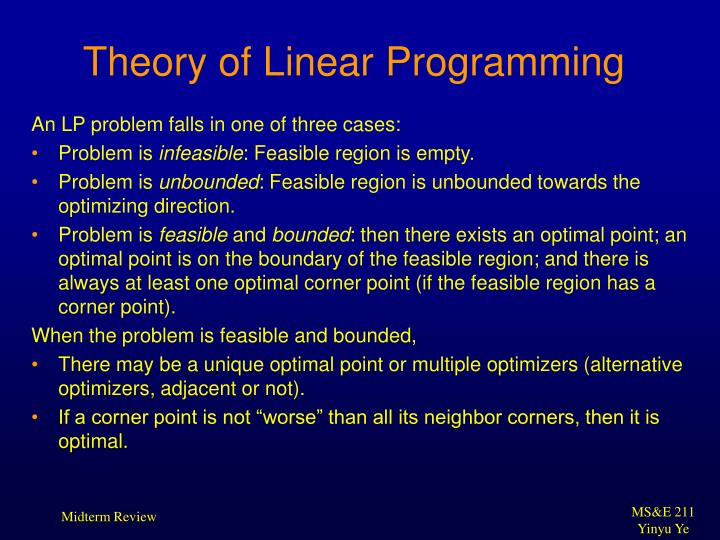 Theory of Linear Programming