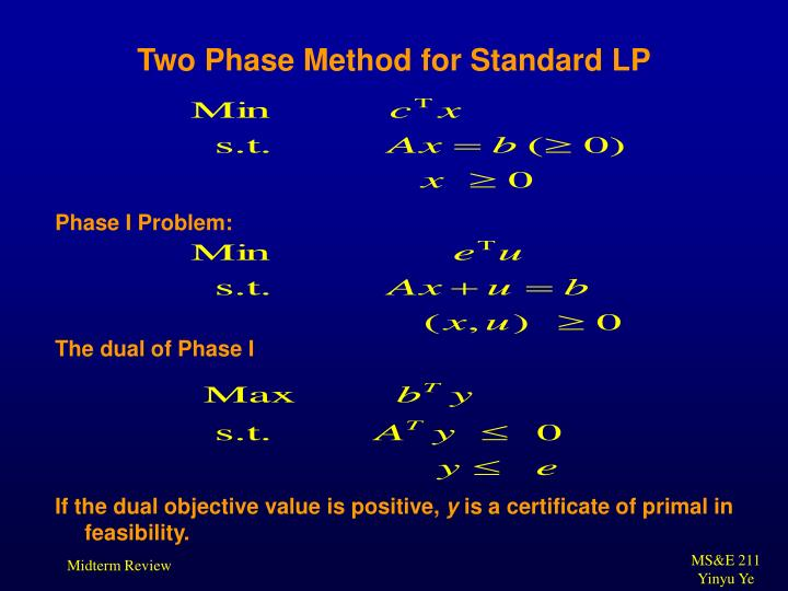 Two Phase Method for Standard LP