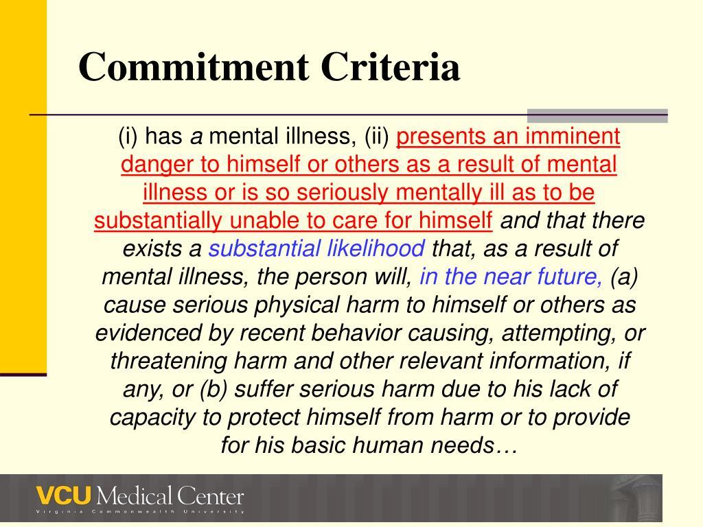 Commitment Criteria
