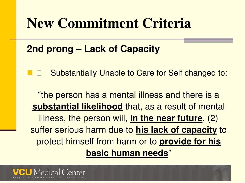 New Commitment Criteria
