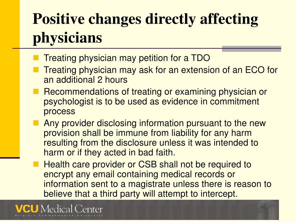 Positive changes directly affecting physicians