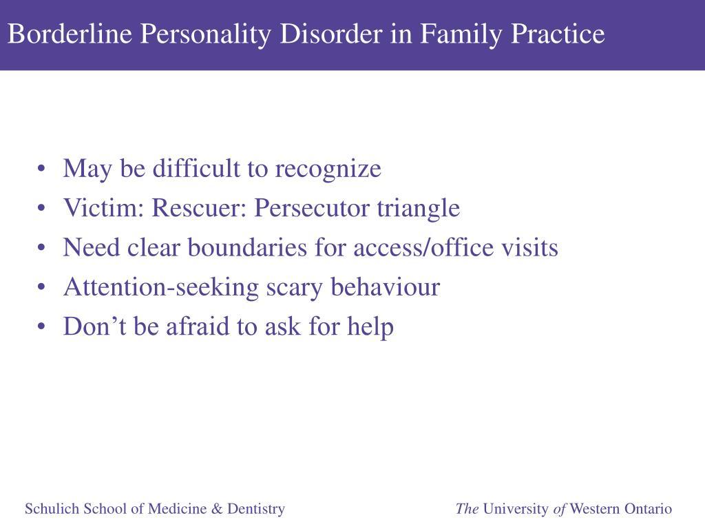 Borderline Personality Disorder in Family Practice