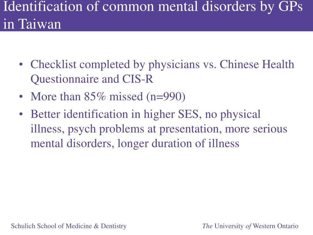 Identification of common mental disorders by GPs in Taiwan