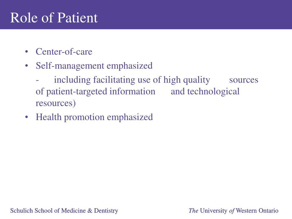 Role of Patient