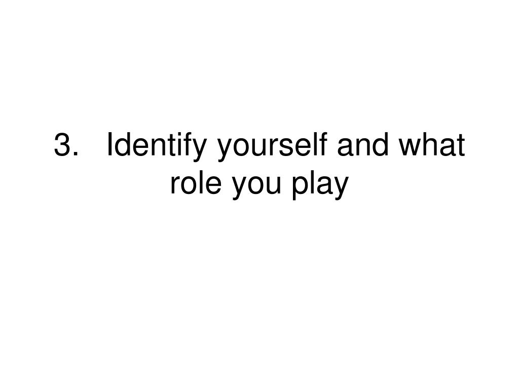 3.Identify yourself and what role you play