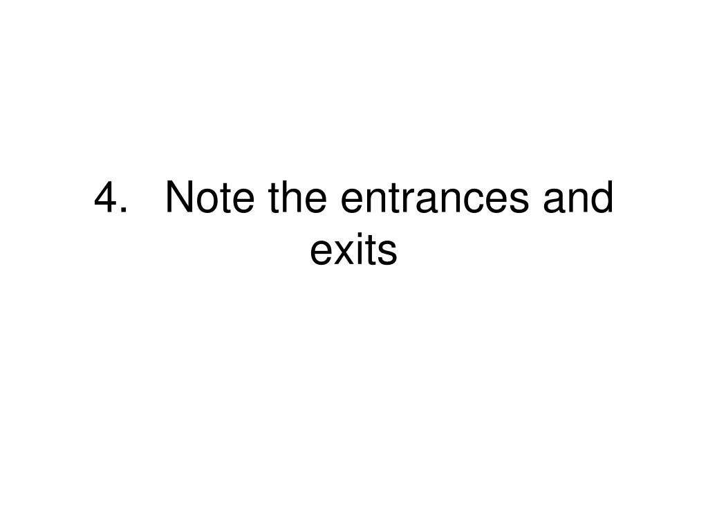 4.Note the entrances and exits