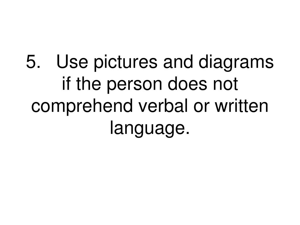 5.Use pictures and diagrams if the person does not comprehend verbal or written language.