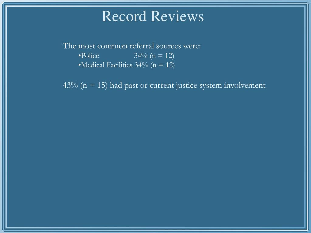 The most common referral sources were: