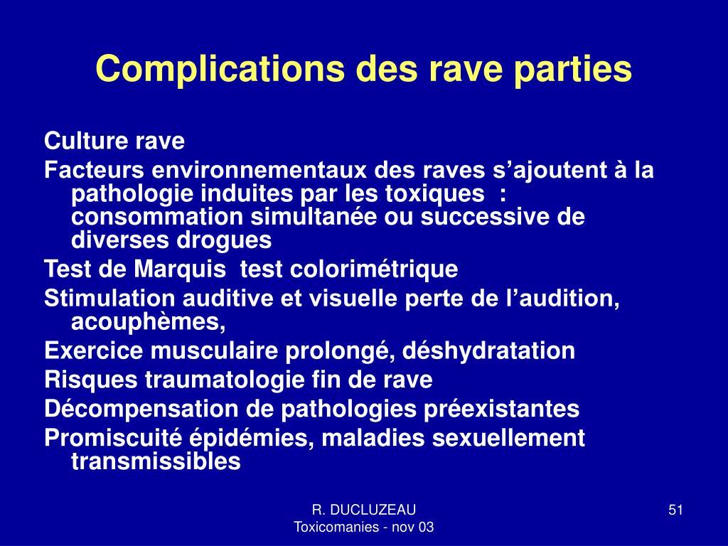 Complications des rave parties