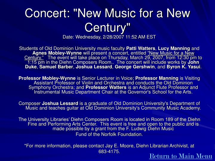 """Concert: """"New Music for a New Century"""""""