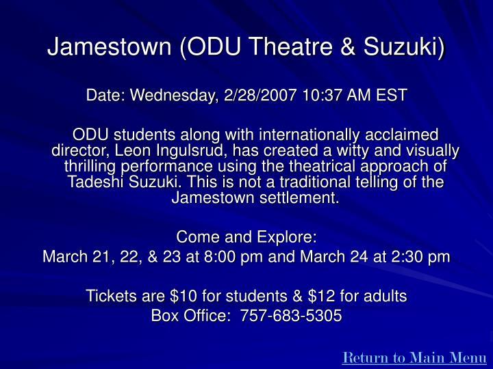 Jamestown (ODU Theatre & Suzuki)