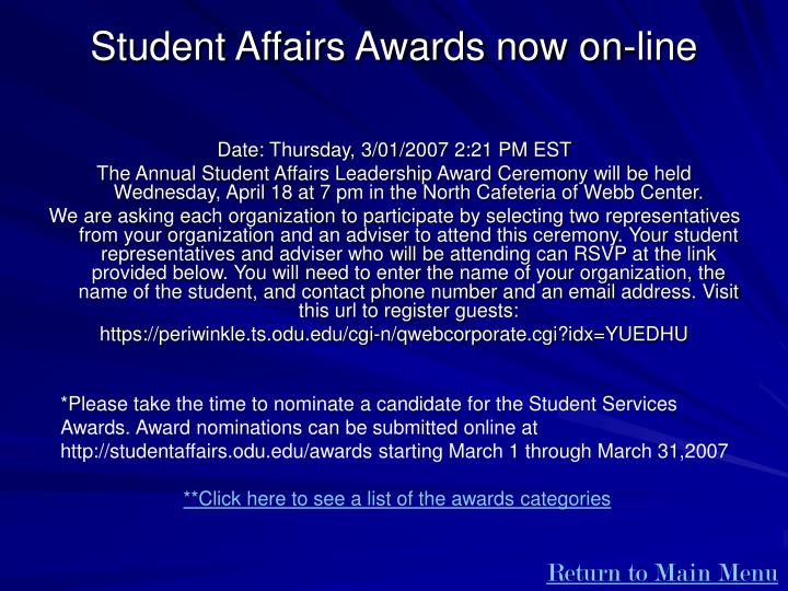 Student Affairs Awards now on-line