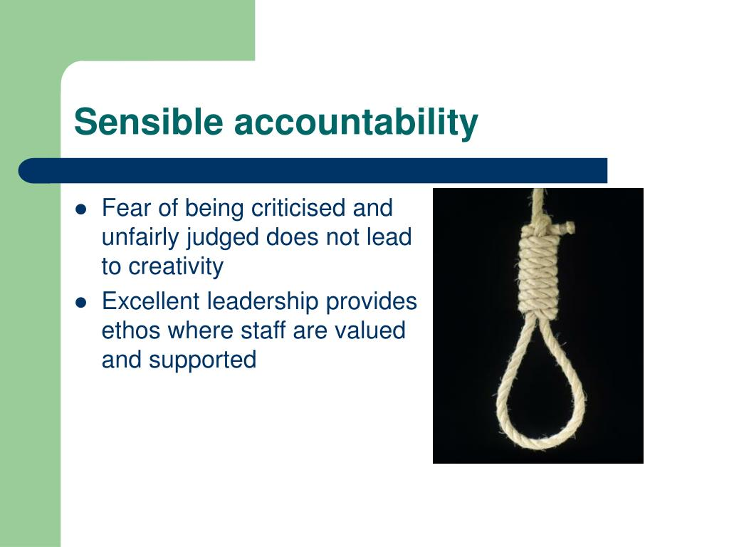 Sensible accountability