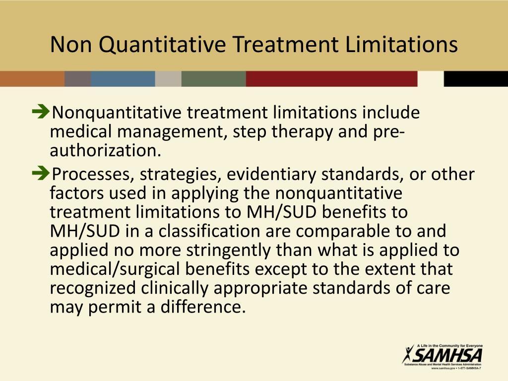 Non Quantitative Treatment Limitations