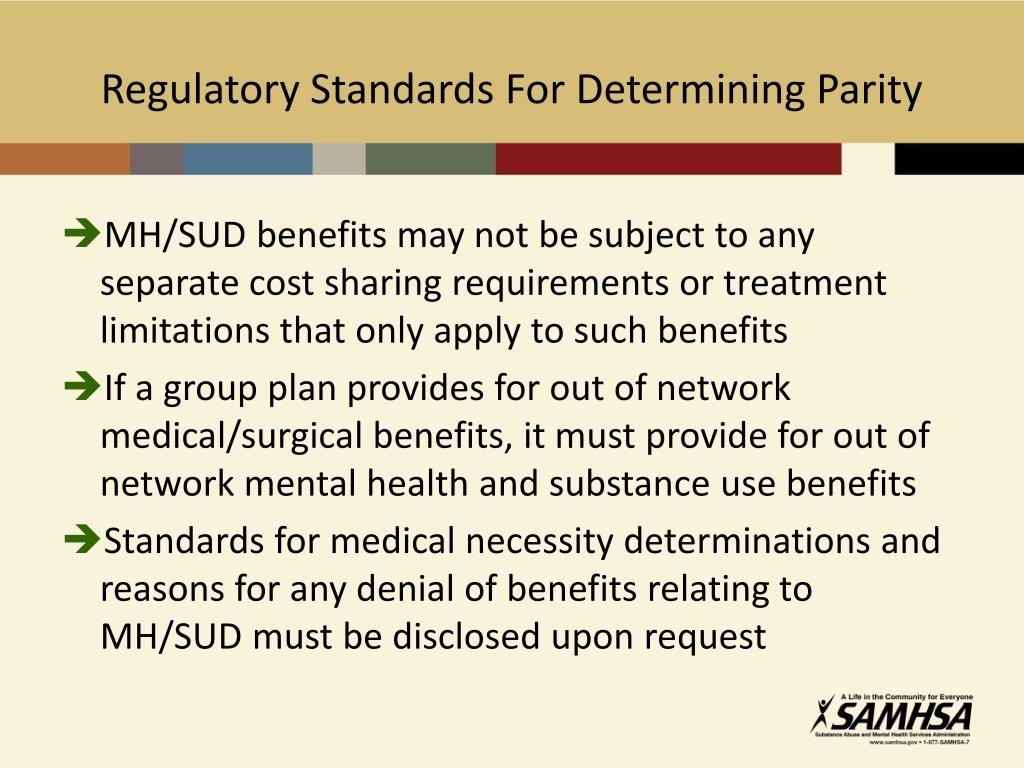 Regulatory Standards For Determining Parity