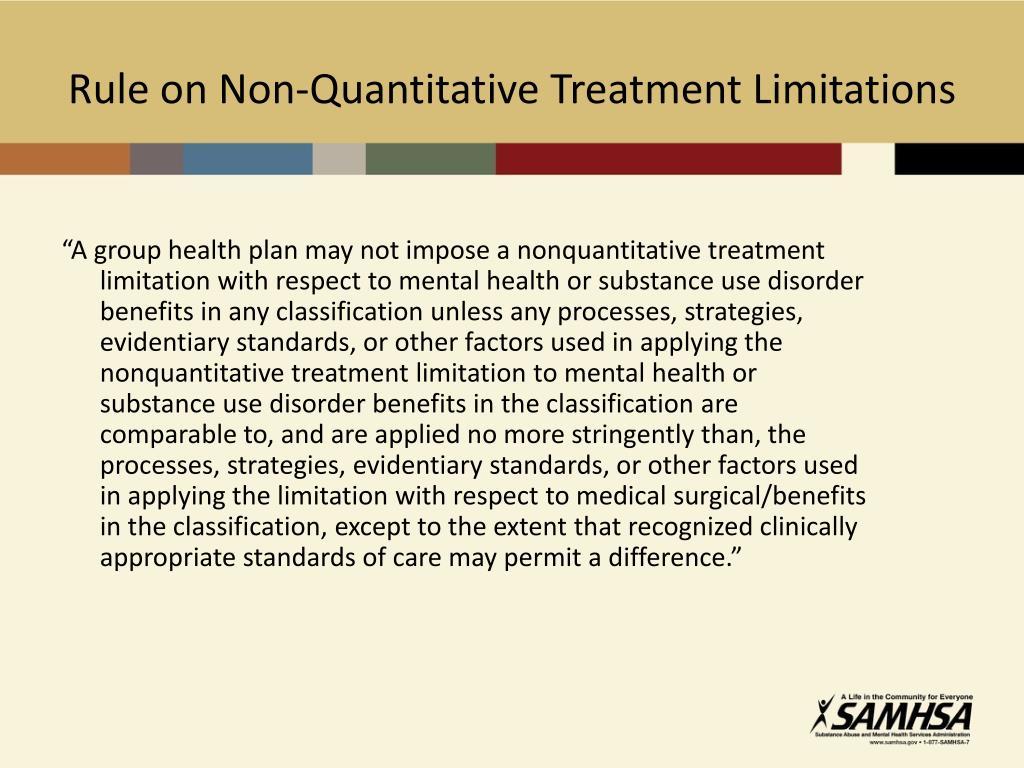Rule on Non-Quantitative Treatment Limitations
