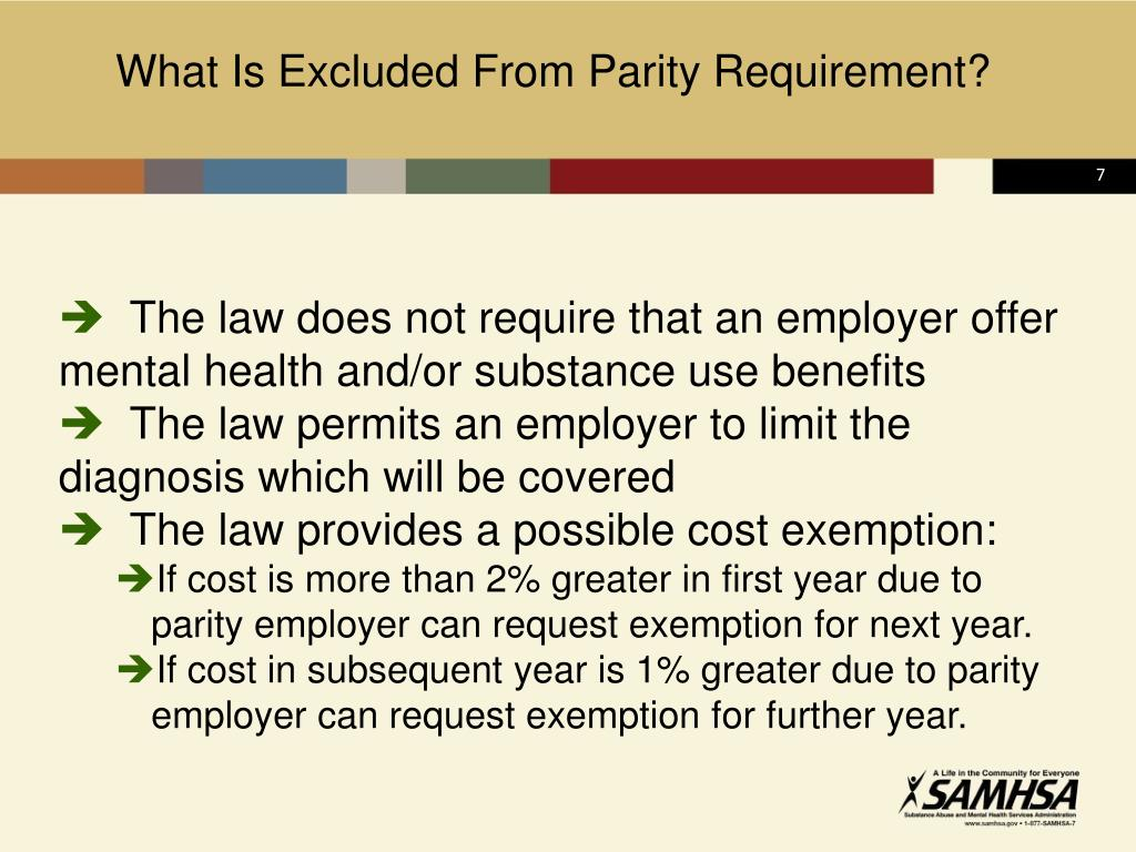 What Is Excluded From Parity Requirement?
