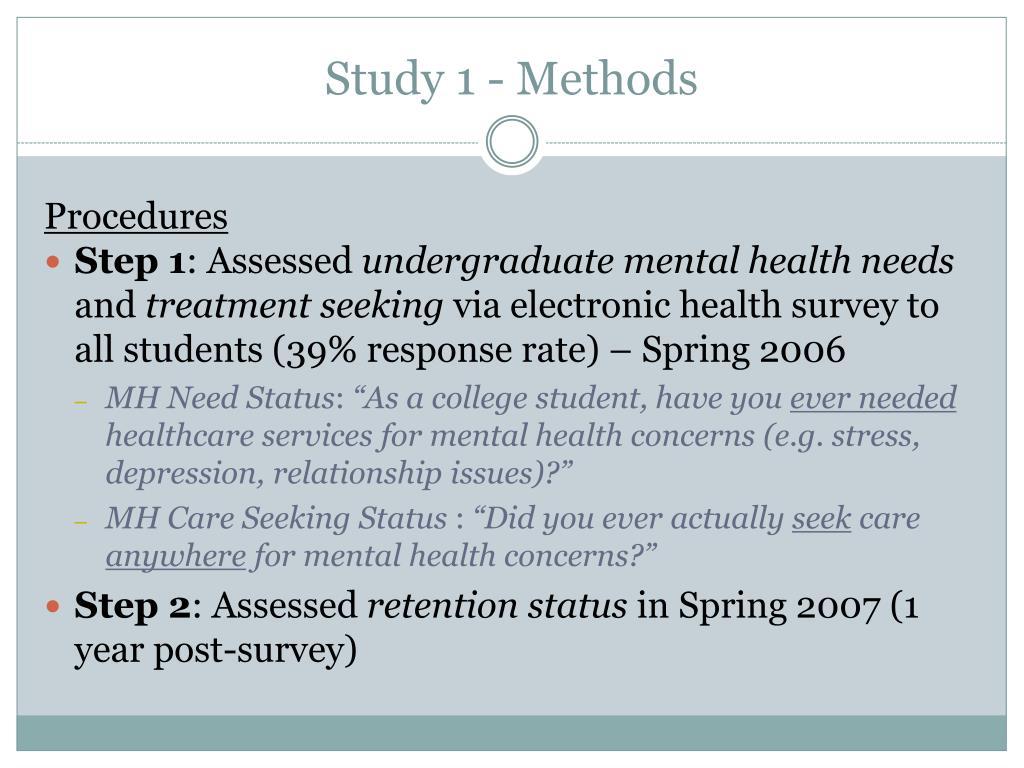 Study 1 - Methods