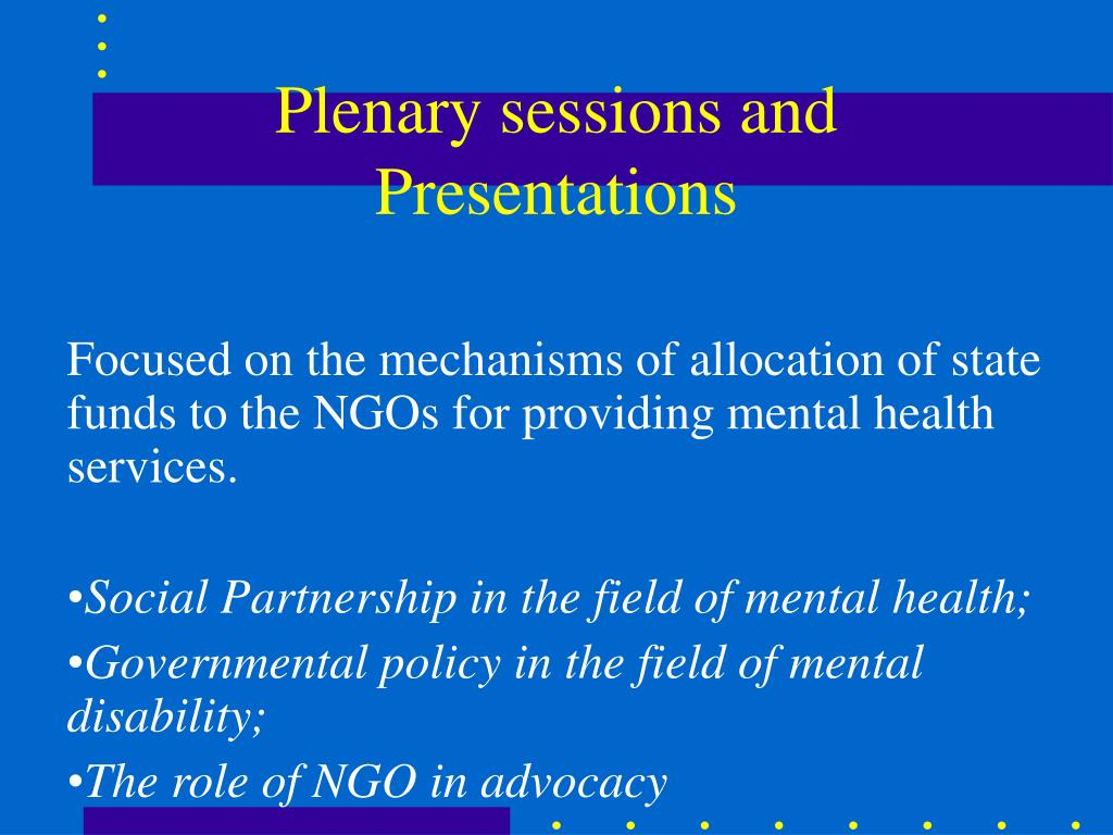 Plenary sessions and Presentations