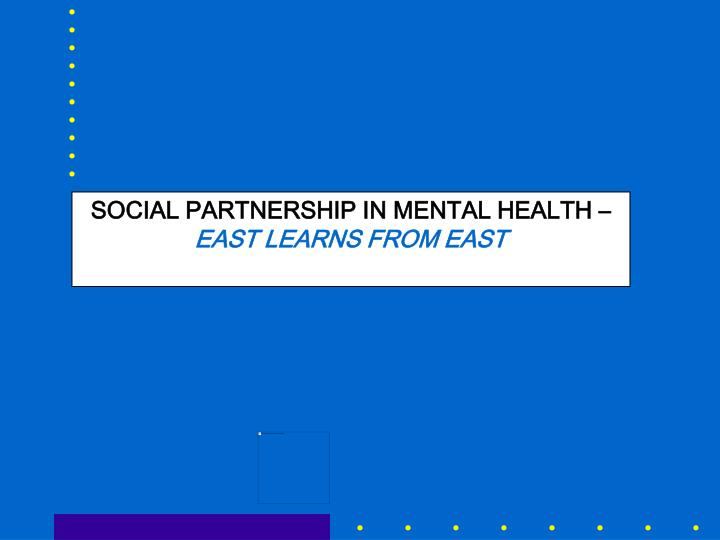 SOCIAL PARTNERSHIP IN MENTAL HEALTH –