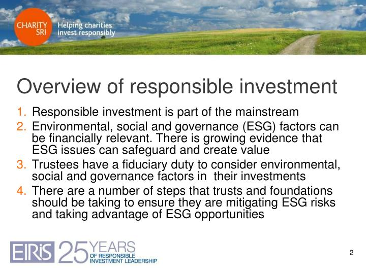 Overview of responsible investment