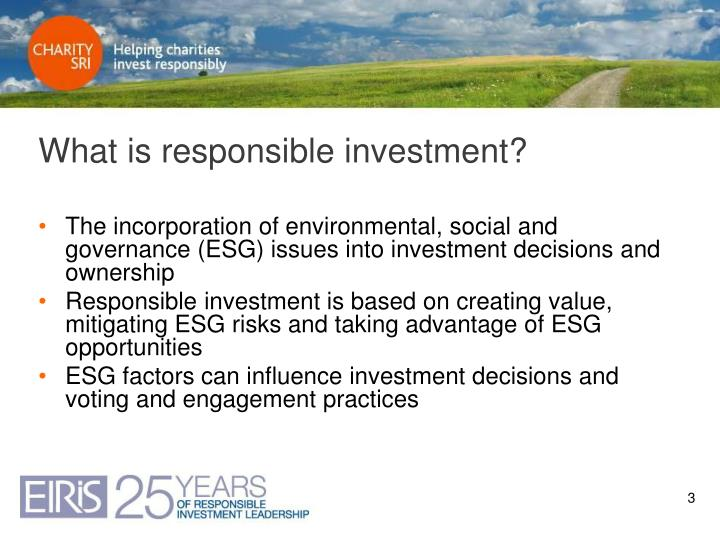 What is responsible investment?