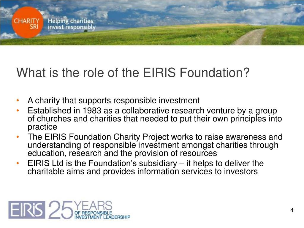 What is the role of the EIRIS Foundation?
