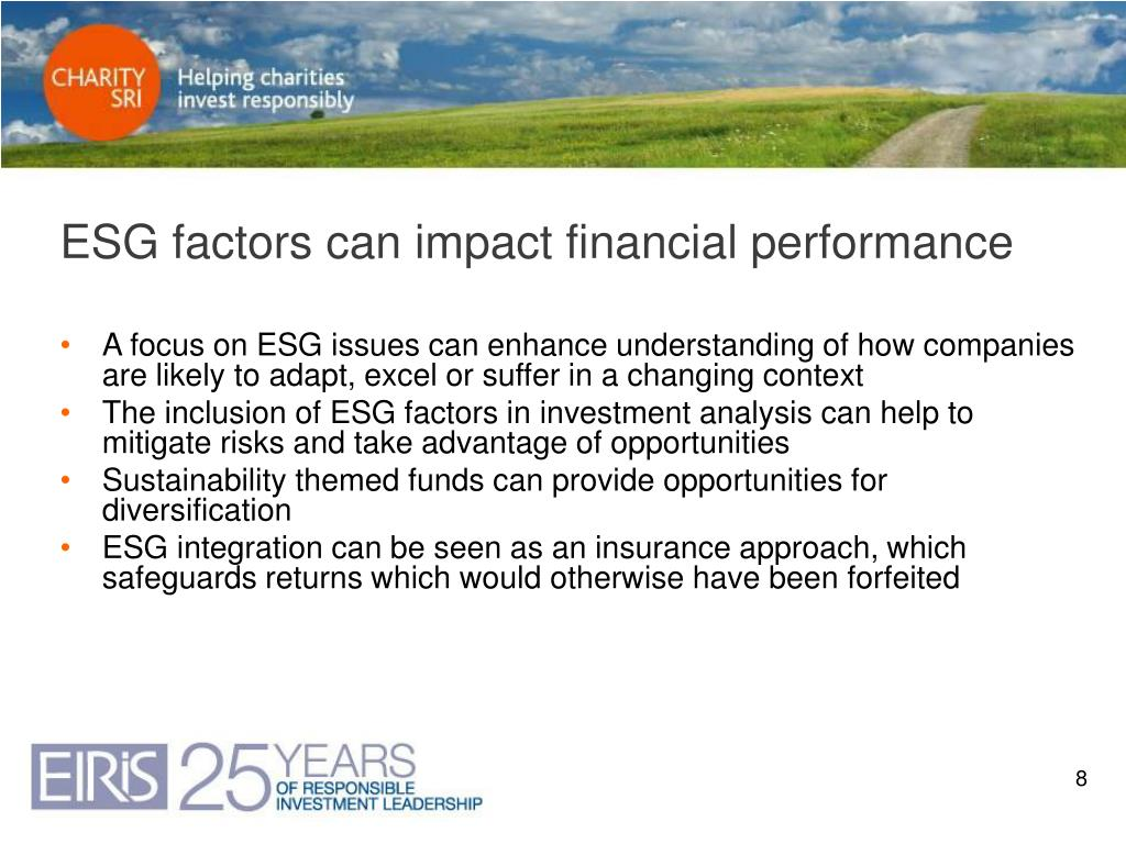 ESG factors can impact financial performance