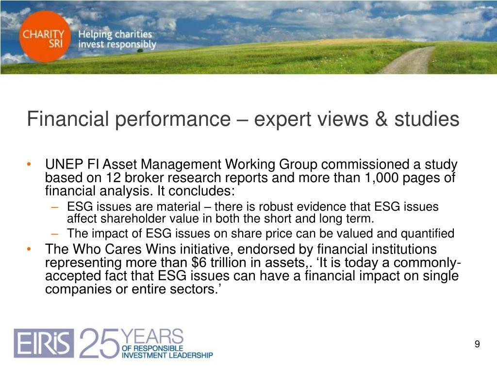 Financial performance – expert views & studies