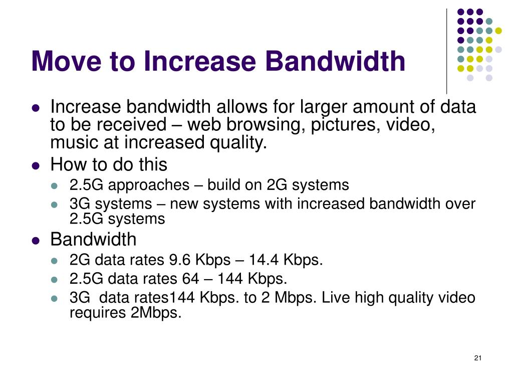 Move to Increase Bandwidth